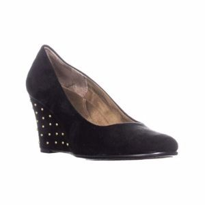 AEROSOLES Suede Wedges With Gold Studded Heels 10
